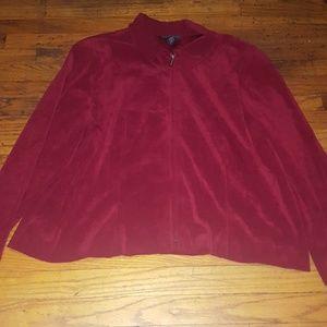 Faux suede burgundy oxblood zip jacket 24W